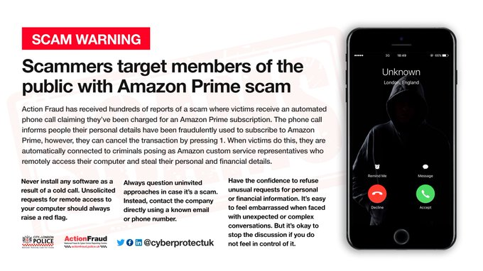 AMAZON SCAM FRAUD ALERT IN THE UK OVER £400,000 STOLEN IN JUST TWO MONTHS!